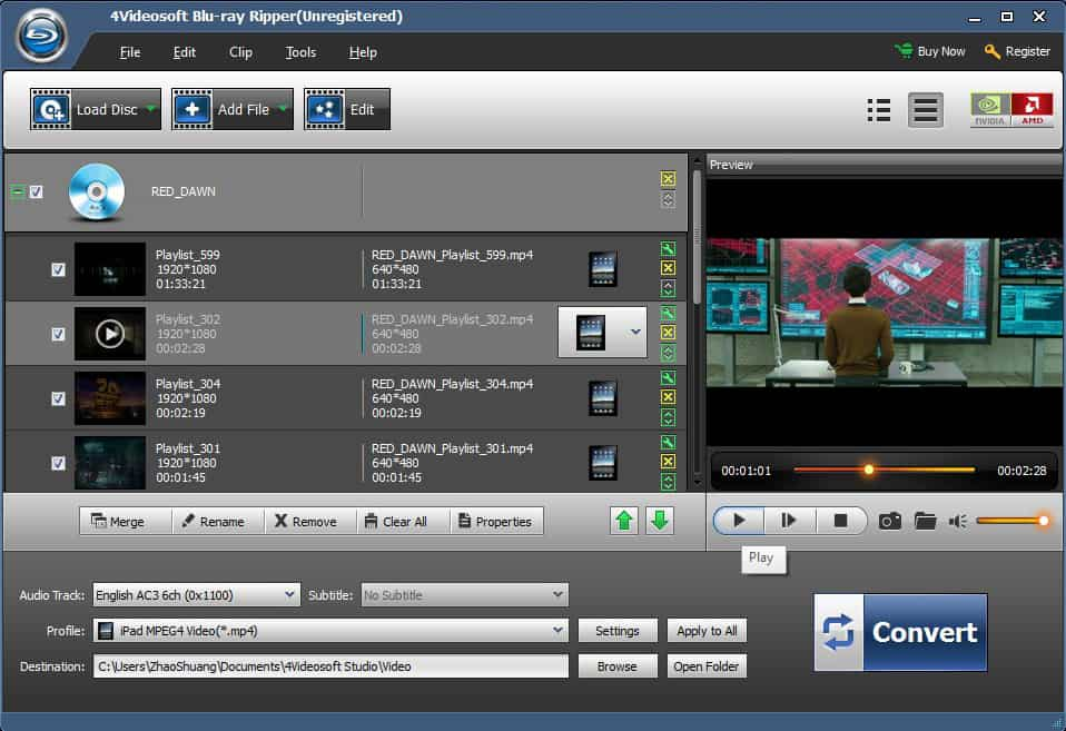 Screenshot of 4Videosoft Blu-Ray Ripper