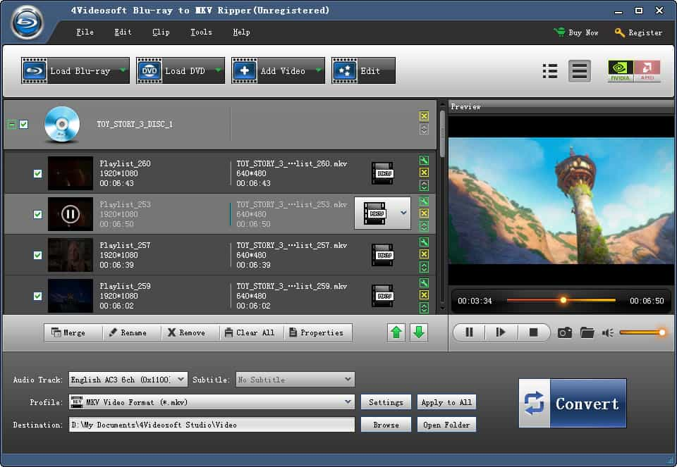 Click to view 4Videosoft Blu-ray to MKV Ripper screenshots