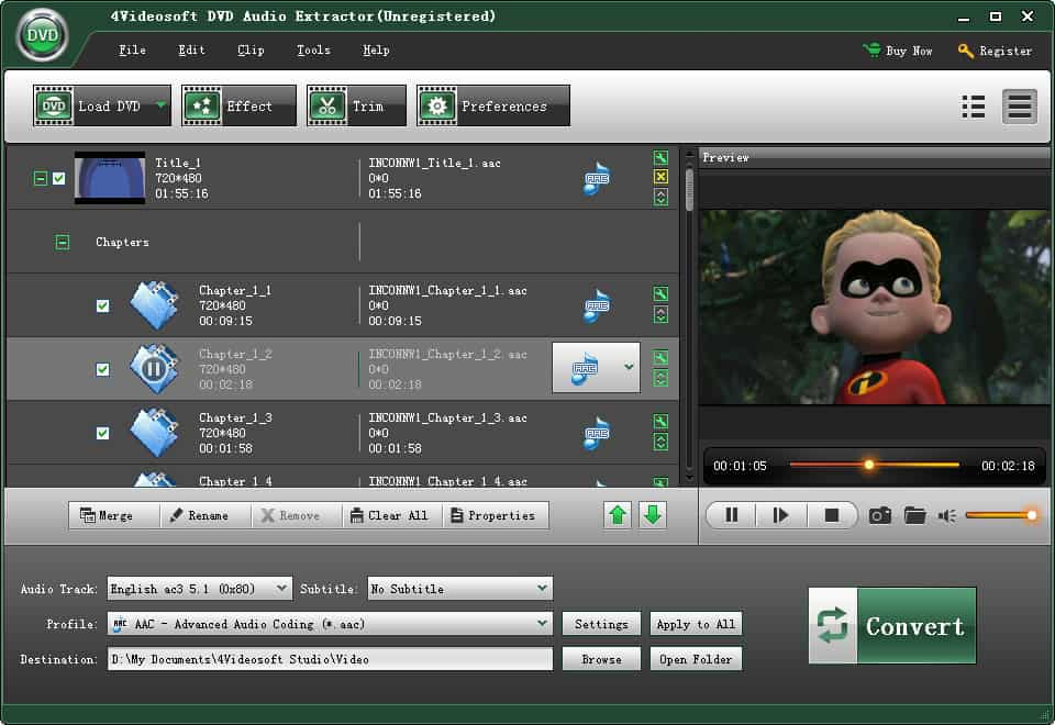 4Videosoft DVD Audio Extractor Screen shot