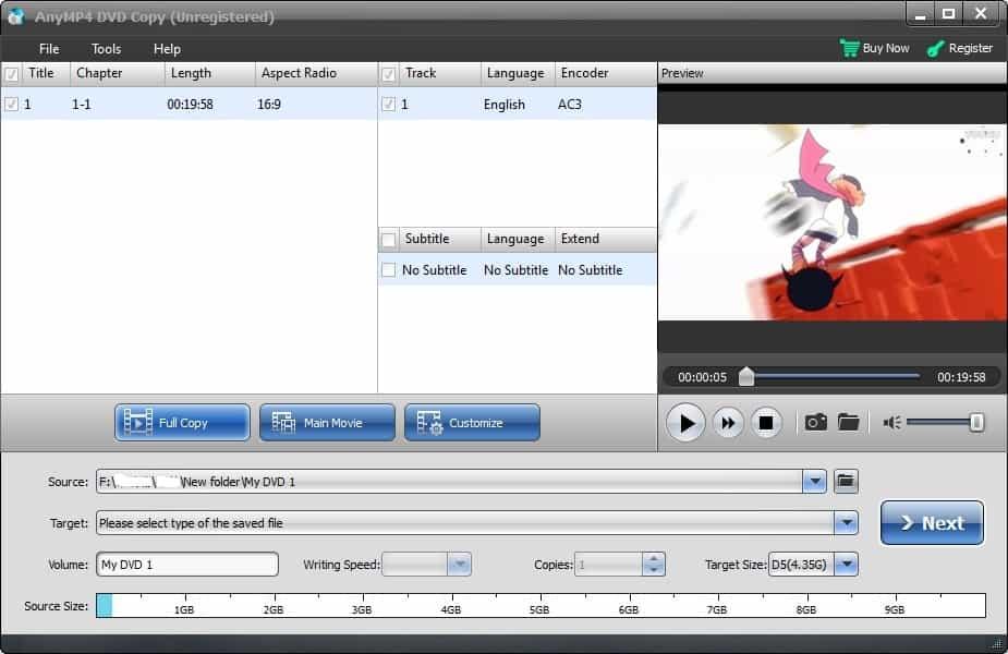 Možnosti kopírování DVD
