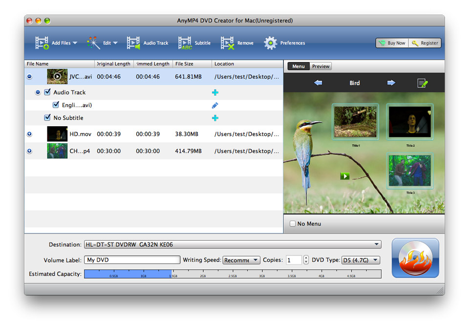 4Videosoft DVD Creator for Mac Screen shot
