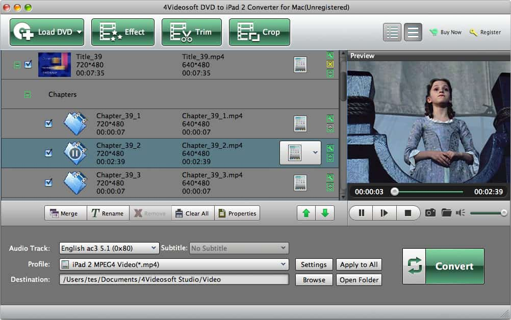 4Videosoft Mac DVD to iPad 2 Converter screenshot