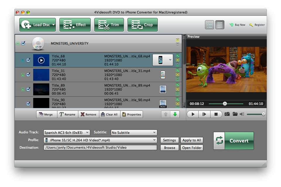 4Videosoft Mac DVD to iPhone Converter