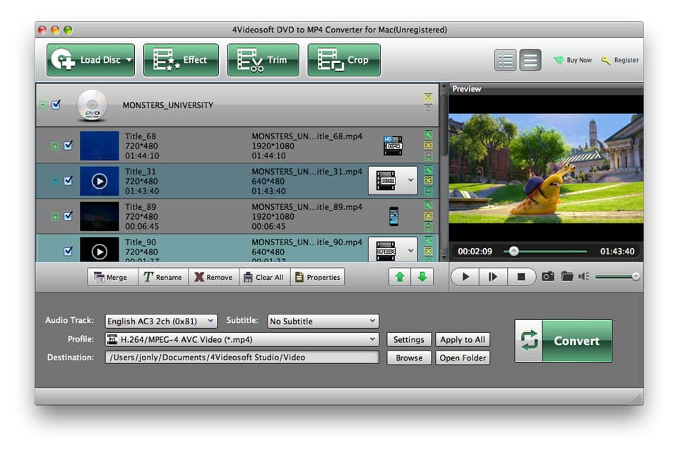 4Videosoft DVD to MP4 Converter for Mac Screen shot