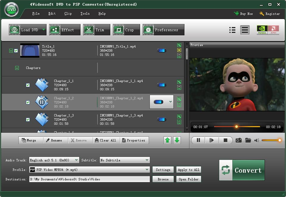 Click to view 4Videosoft DVD to PSP Converter screenshots