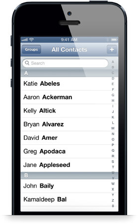 Contact List On iPhone 5