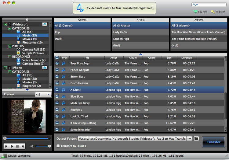 4Videosoft iPad 2 to Mac Transfer screenshot