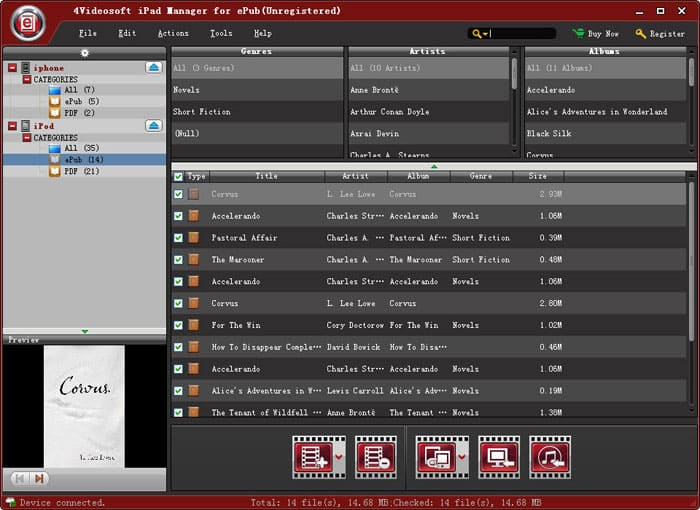 4Videosoft iPad Manager for ePub Screen shot