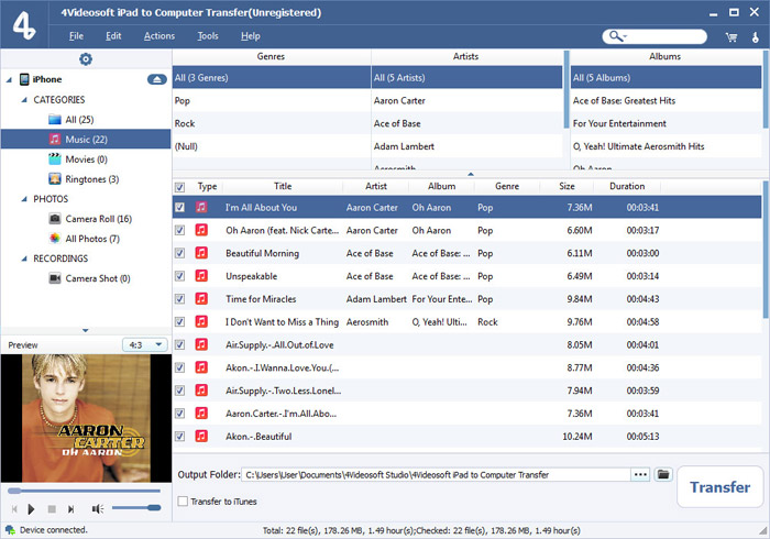 Click to view 4Videosoft iPad to Computer Transfer screenshots