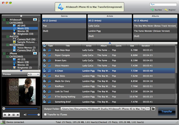 4Videosoft iPhone 4S to Mac Transfer screenshot