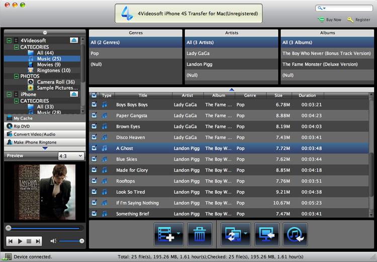 Screenshot of 4Videosoft Mac iPhone 4S Platinum