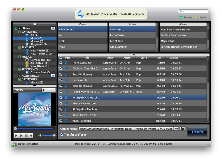 4Videosoft iPhone to Mac Transfer Screen shot