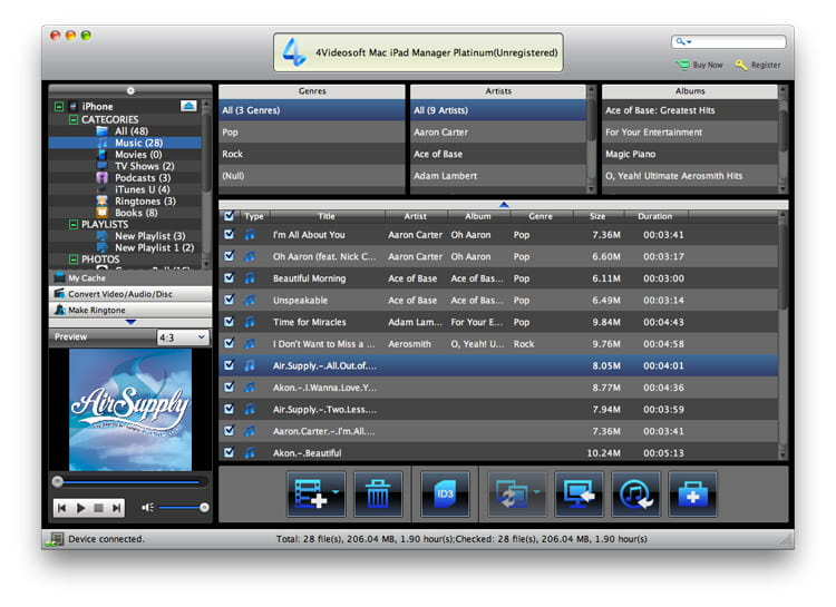Transfer iPad files to Mac or to iTunes.