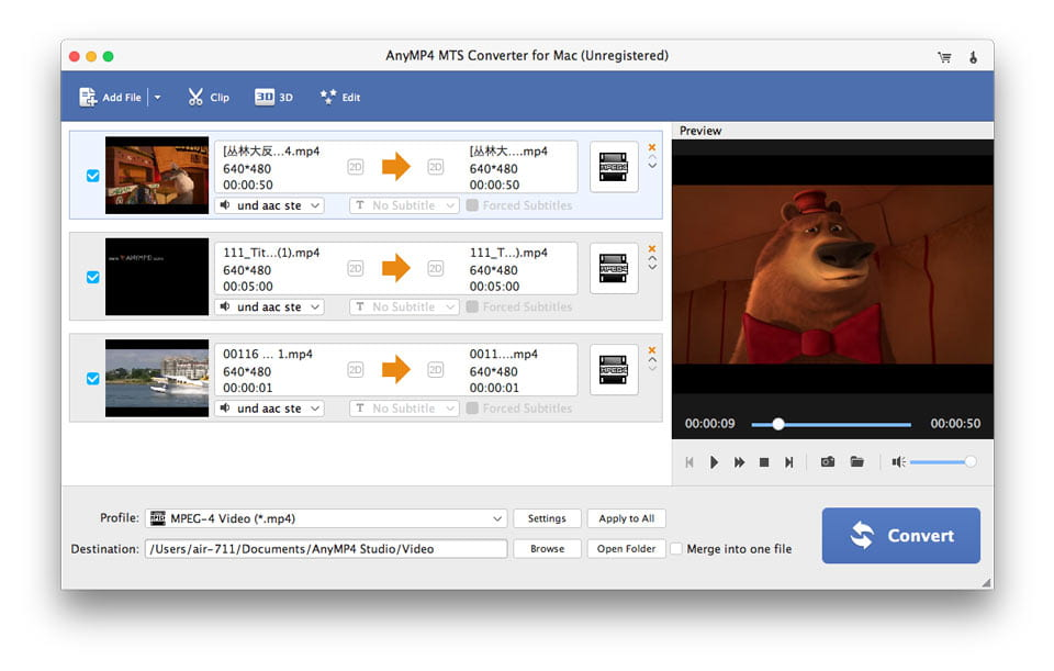 4Videosoft MTS Converter for Mac Screen shot