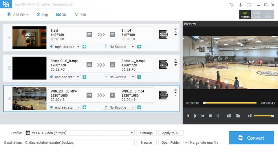 MXF Converter - Convert/transcode MXF to MP4/AVI/WMVV/Sony Vegas