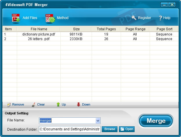 Click to view 4Videosoft PDF Merger screenshots