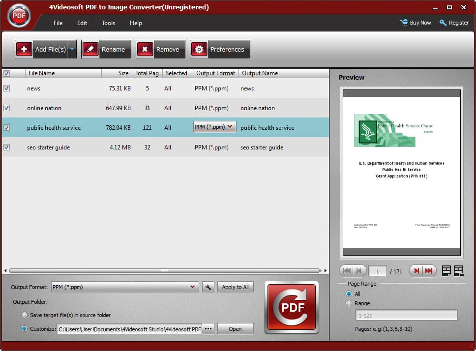 4Videosoft PDF to Image Converter Screen shot