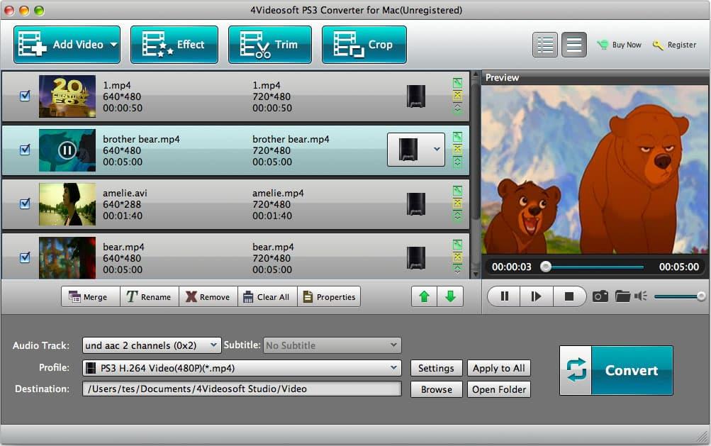 4Videosoft PS3 Converter for Mac Screen shot