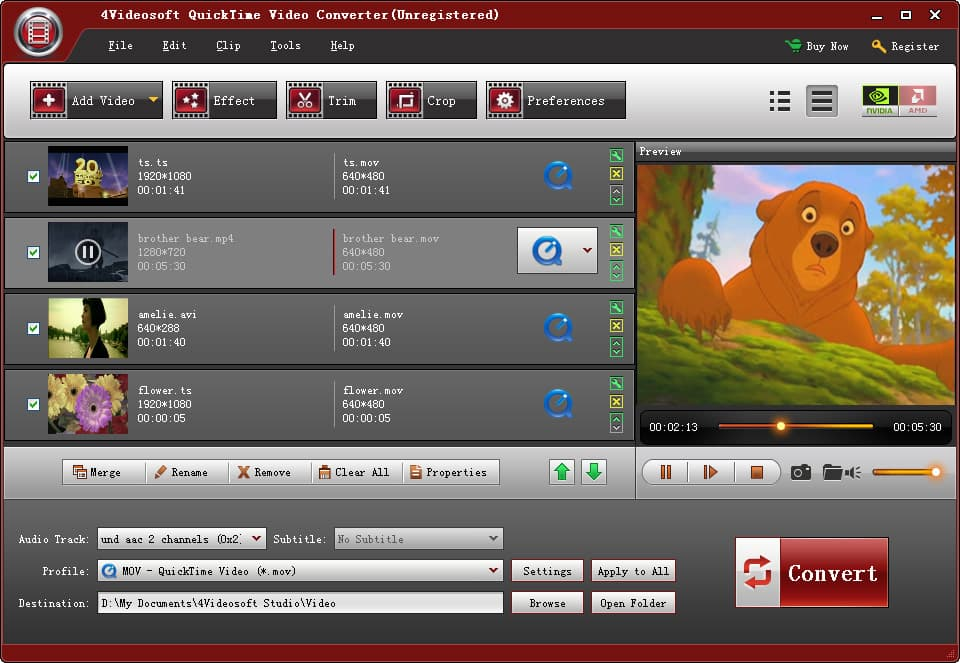 4Videosoft QuickTime Video Converter Screen shot