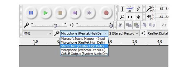 Enregistrer l'audio sur Audacity Stereo Mix