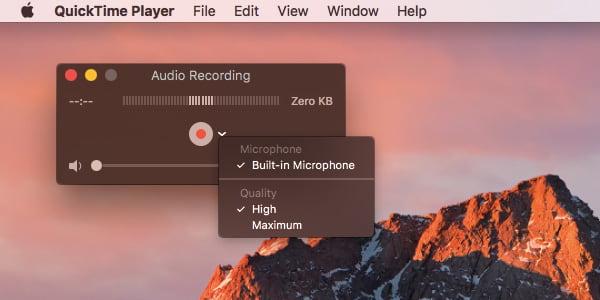 Enregistrement audio Quicktime