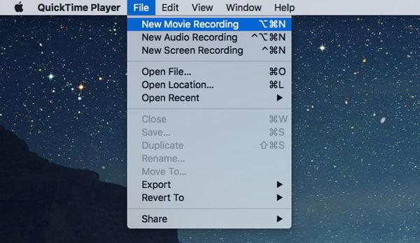 Enregistrement de nouveau film Quicktime Player