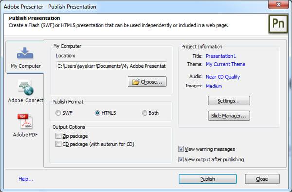 Présentateur Adobe