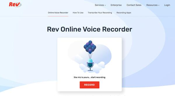 Enregistreur vocal en ligne Rev