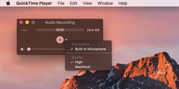 Enregistrement audio Qucik Time