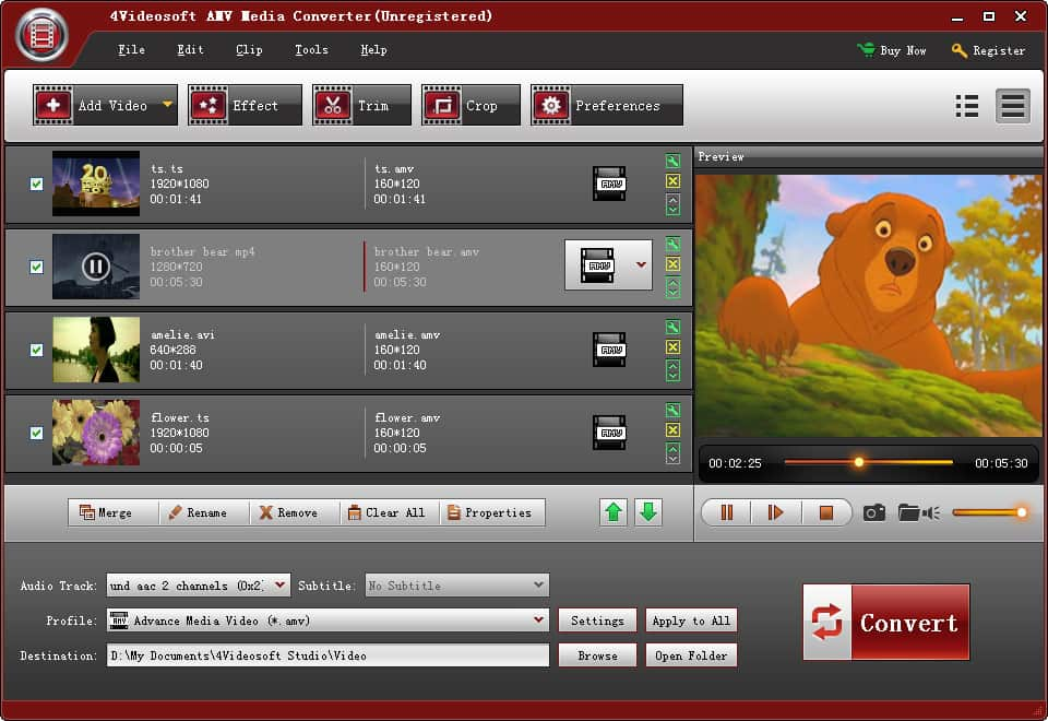 Click to view 4Videosoft AMV Media Converter screenshots