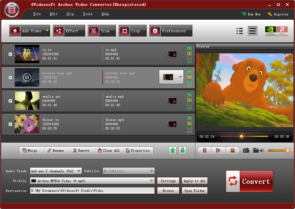 Click to view 4Videosoft Archos Video Converter screenshots