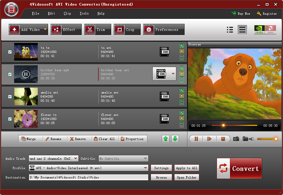 4Videosoft AVI Video Converter Screen shot