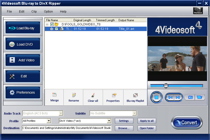 4Videosoft Blu-ray to DivX Ripper