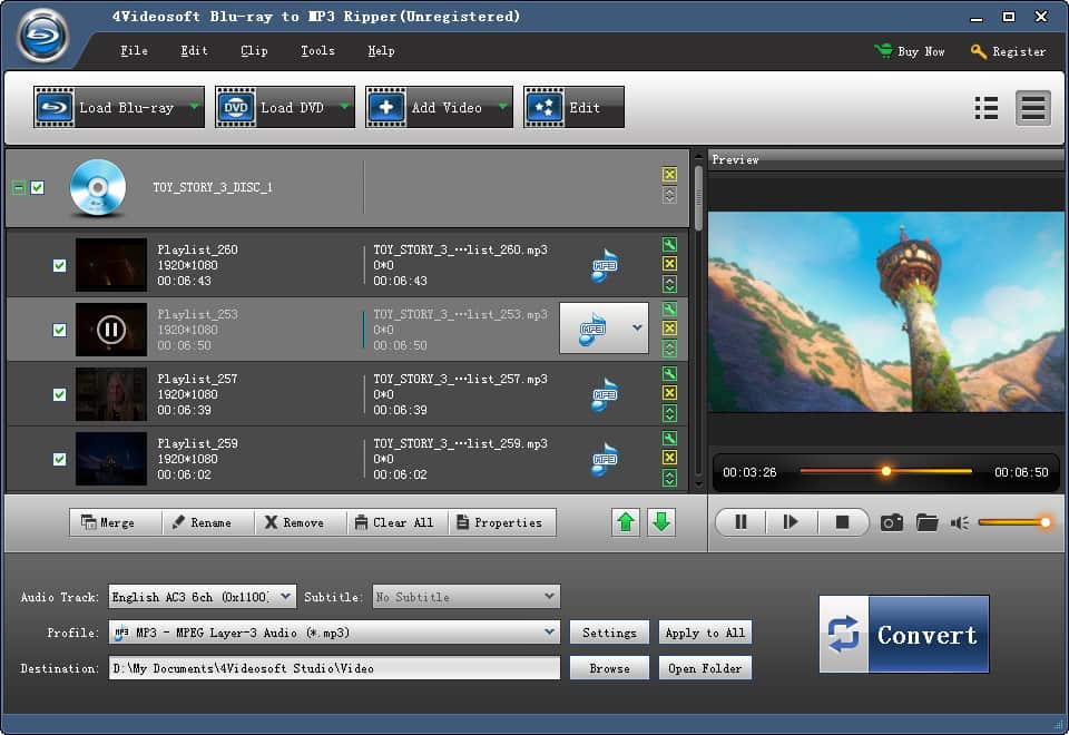 4Videosoft Blu-ray to MP3 Ripper Screen shot
