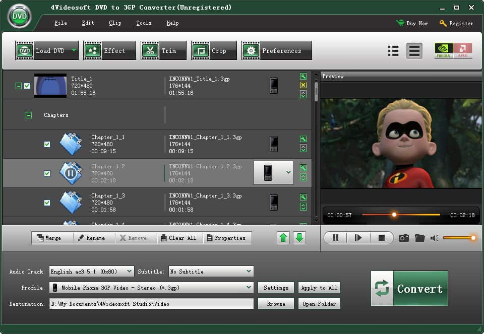 Screenshot of 4Videosoft DVD to 3GP Converter