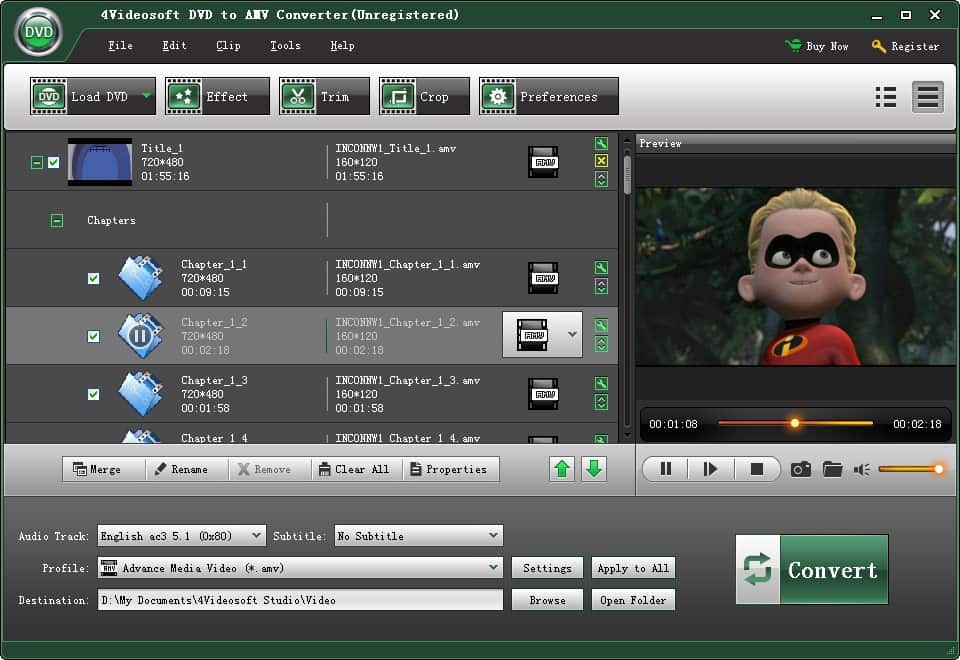 Click to view 4Videosoft DVD to AMV Converter screenshots