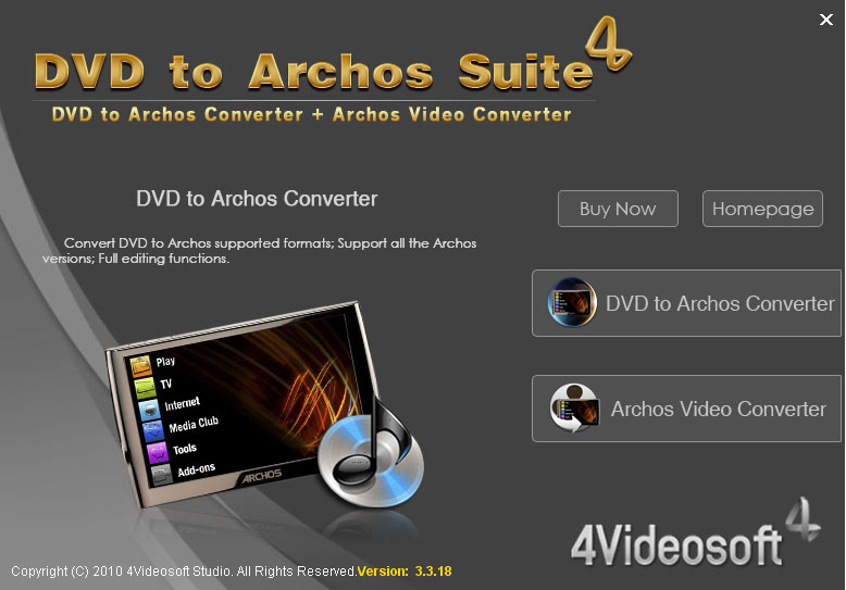 4Videosoft DVD to Archos Suite screenshot