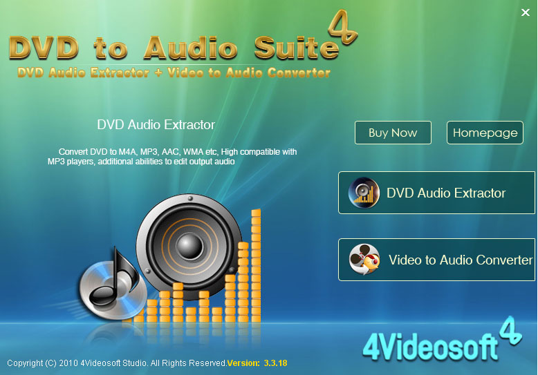Click to view 4Videosoft DVD to Audio Suite 3.2.08 screenshot