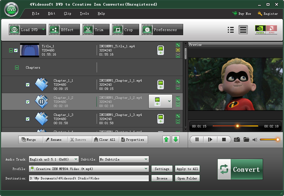 4Videosoft DVD to Creative Zen Converter screenshot