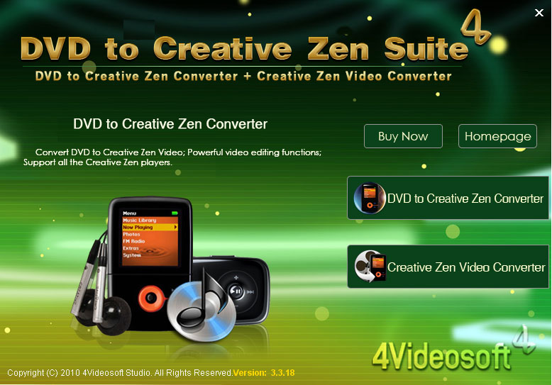Click to view 4Videosoft DVD to Creative Zen Suite 3.2.10 screenshot
