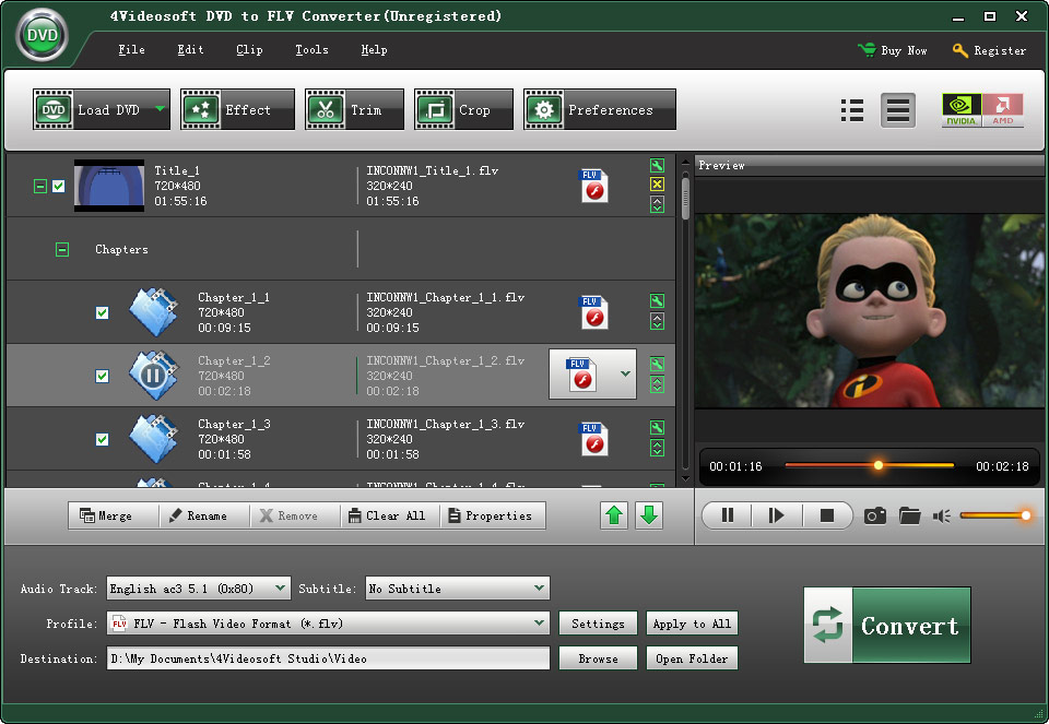 4Videosoft DVD to FLV Converter screenshot
