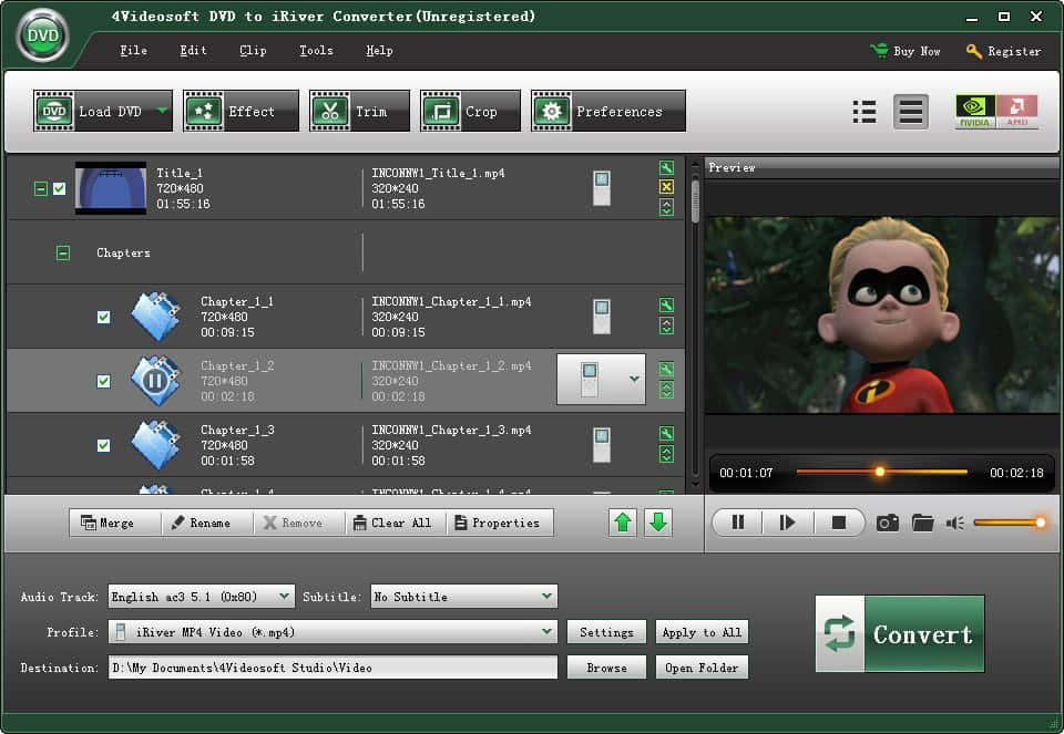 Click to view 4Videosoft DVD to iRiver Converter screenshots