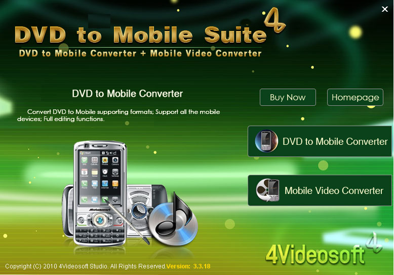 Click to View Full Screenshot4Videosoft DVD to Mobile Suite 3.2.10 screenshot
