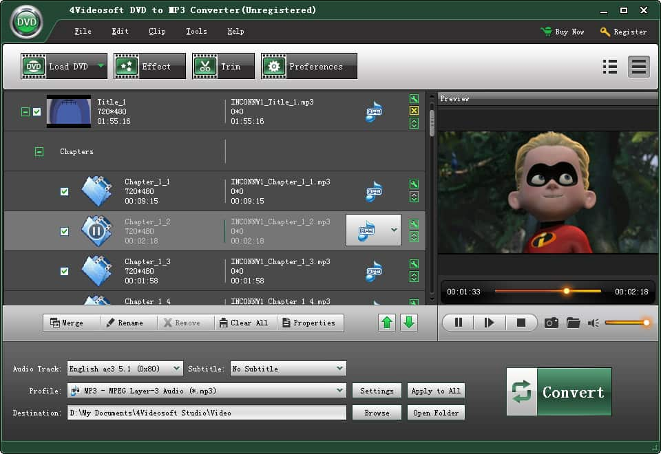 Click to view 4Videosoft DVD to MP3 Converter screenshots