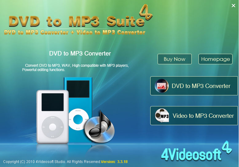 Click to view 4Videosoft DVD to MP3 Suite 3.3.08 screenshot