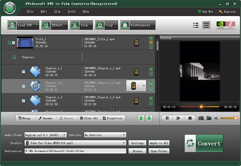 4Videosoft DVD to Palm Converter Screen shot