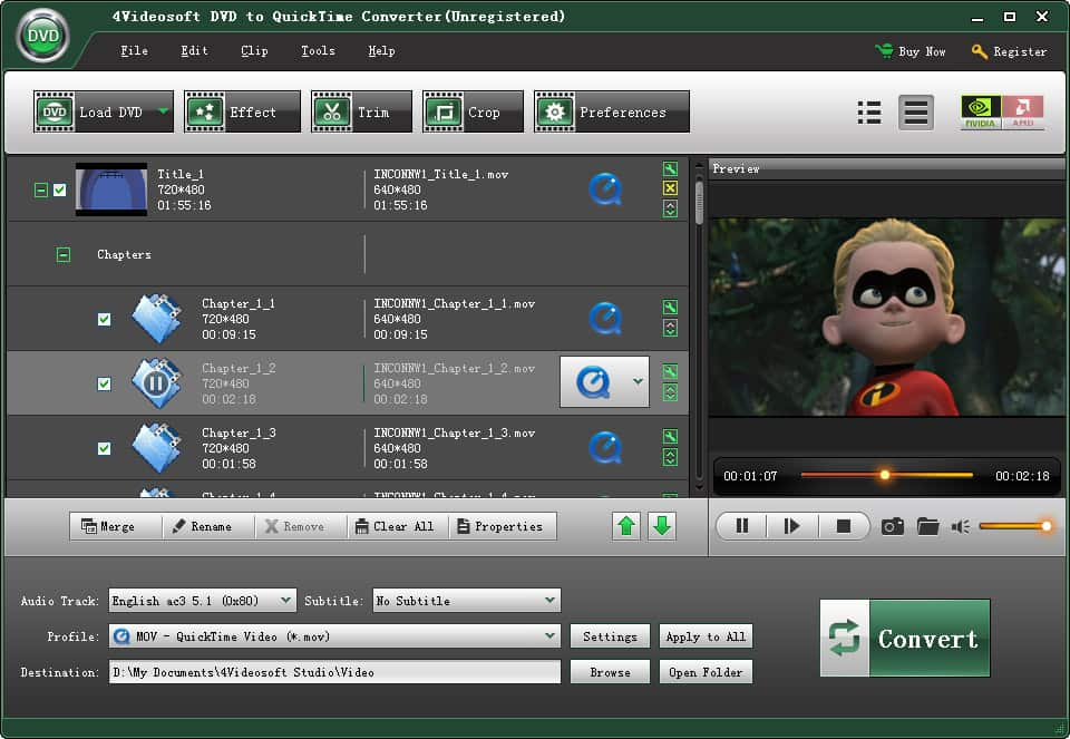 Click to view 4Videosoft DVD to QuickTime Converter 3.3.28 screenshot
