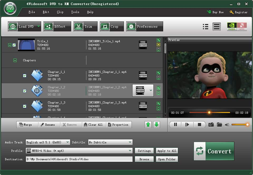4Videosoft DVD to RM Converter screenshot