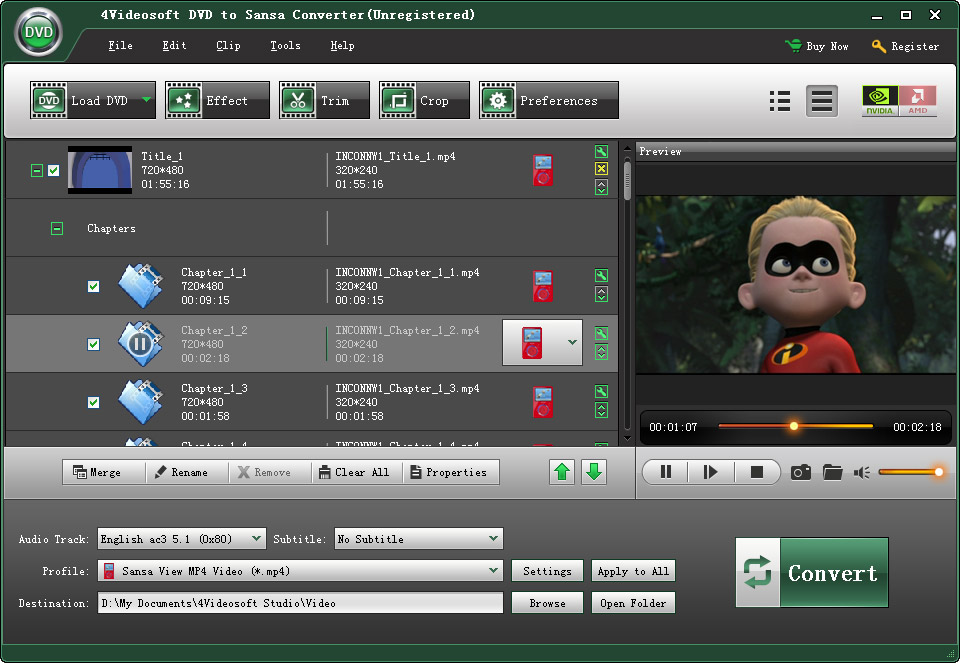 4Videosoft DVD to Sansa Converter Screen shot