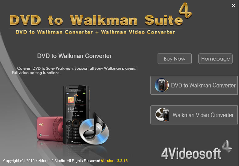 Screenshot of 4Videosoft DVD to Walkman Suite 4.0.10